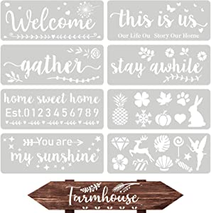 9 Pieces Reusable Painting Stencils Welcome Sign Stencils Holiday Large Word Stencils for Painting on Wood Front Door Home Porch DIY Decor, 14.17 x 5.51 Inch
