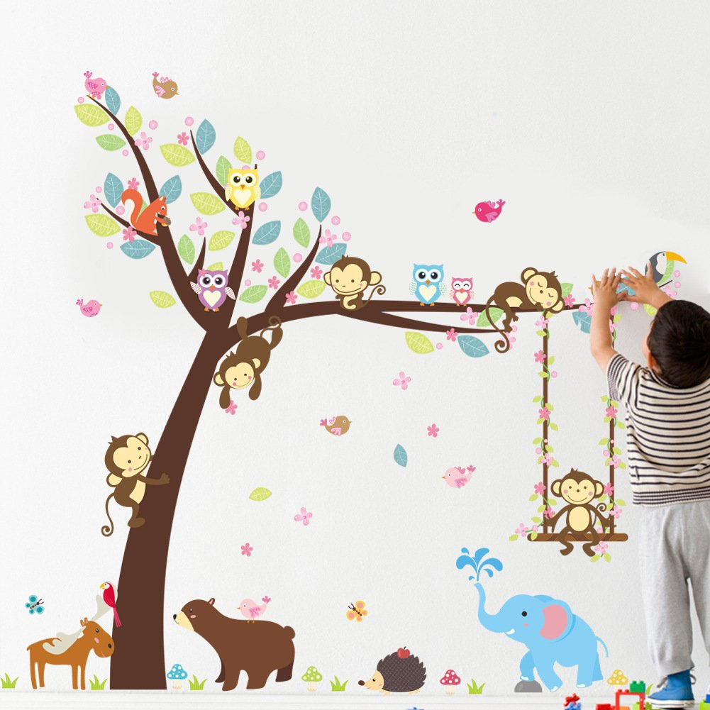 Lisdripe Creative Cartoon Jungle Animals Theme Wall Sticker - Removable Vinyl Wall Art –Monkey Swings Elephant Owl Tree Wall Decals,Bedroom, Playroom,Nursery Decors Decoration