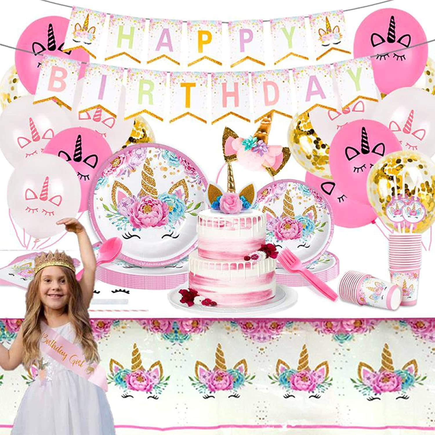 Value Smash Unicorn Party Supplies 16 guests for girls with Birthday Banner, Unicorn Cake Topper, Headband & Sash, Dinning & Dessert plates, Tablecloth, Cups, Forks & Spoons Set, 15 balloons