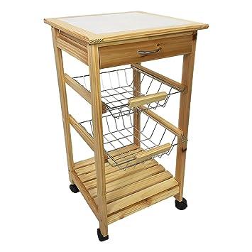 Amazon.de: Küchenwagen, Holz, Keramiktischplatte, rollbar, 76x37x37cm