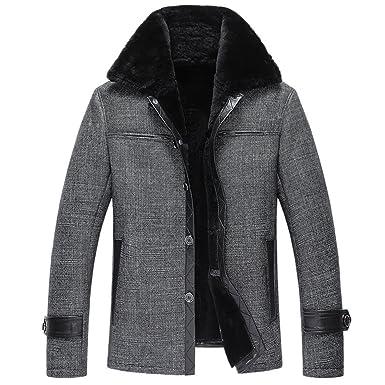 0f3f02538ebe LINAILIN Men Fur Coat Men s Shearling Coat Casual Leather Jacket Fur Coats  (M