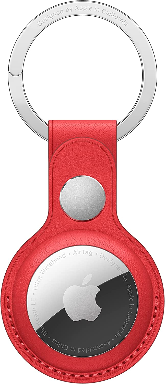 New Apple AirTag Leather Key Ring - (Product) RED