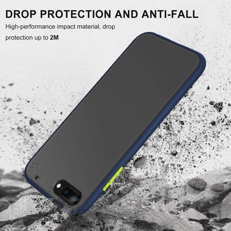 Shockproof Style Carcasa Protectora para Apple iPhone 6//7//8 P YATWIN Funda para iPhone 7 Plus Negro Clasico Fundas iPhone 8 Plus Transparente Mate Case, TPU Bumper Rubber y Botones Coloridos