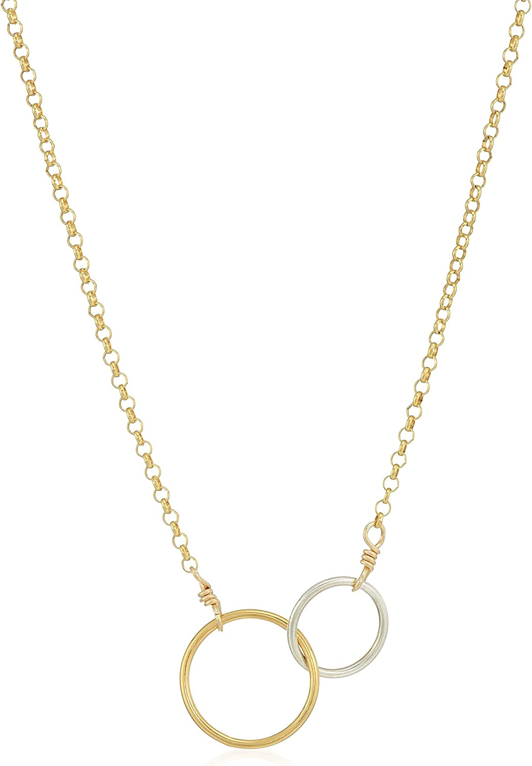 Dogeared Women's Friends for Life, Two Mixed Metal Linked Rings Necklace