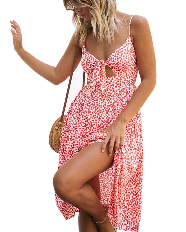 Bred Mansy Womens Dresses Retro Spaghetti Strap Tie Front V Neck Button Swing Midi Flowy Sundress