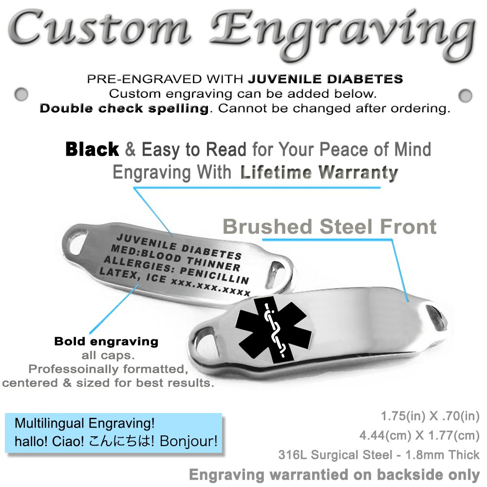 Black Steel Hearts Pre-Engraved /& Customizable Juvenile Diabetes Toggle Medical Alert Bracelet My Identity Doctor