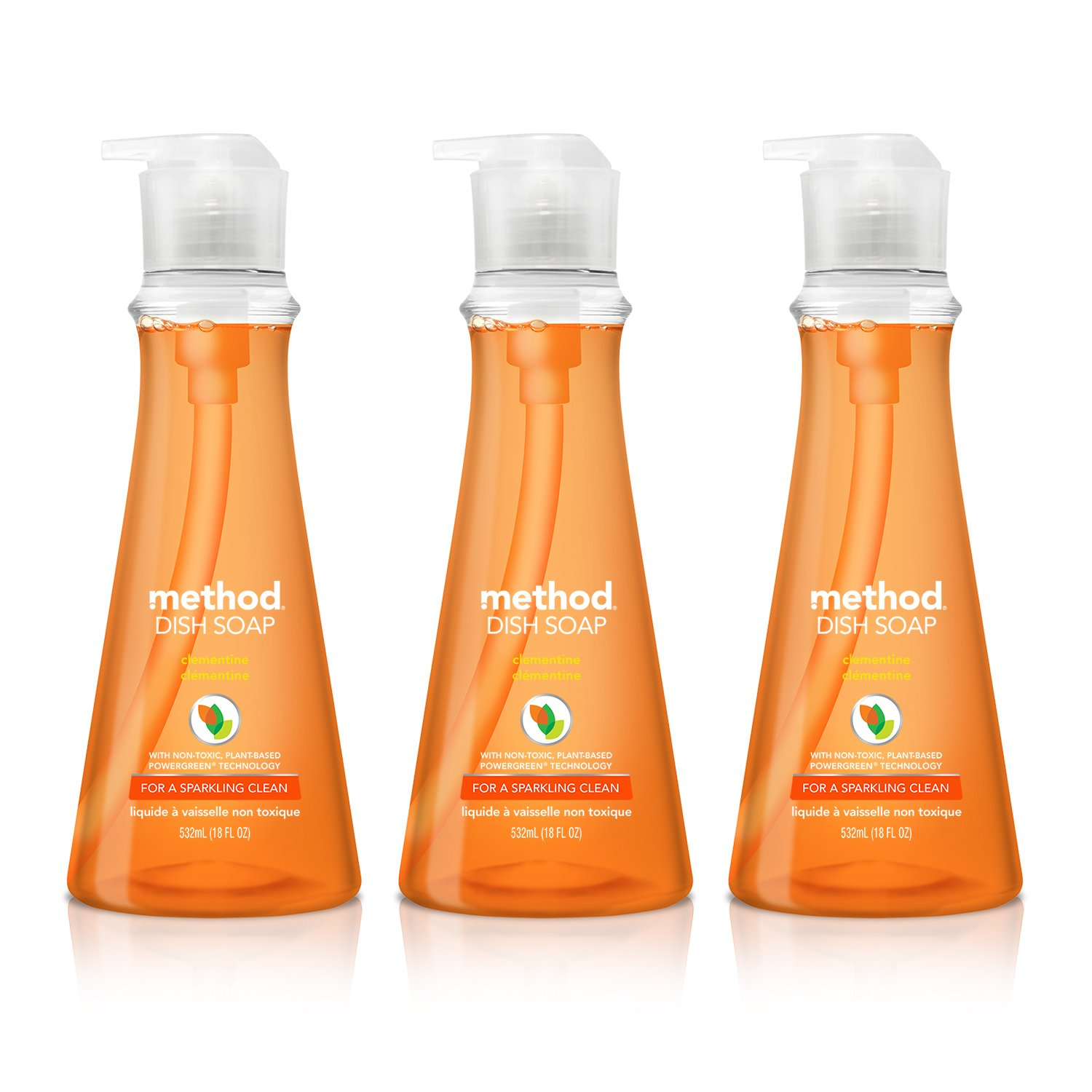 Method Naturally Derived Dish Soap Pump, Clementine, 18 Ounce (Pack of 3)
