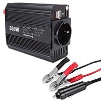 Graceme Spannungswandler Wechselrichter Auto Wohnwagen Solar 12v auf 230v 300w Power Inverter DC zu AC inkl. Dual 2.1A USB Energieversorgung KFZ Zigarettenanzünder Stecker Krokodilklemmen Batterie