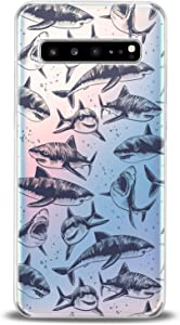 Cavka TPU Case for Samsung Galaxy S20 Plus 10 Lite Note 20 5G S10e S9 S8 Black Sharks Pattern Soft Print Sea Clear Graphic Lightweight Design Fishes Slim fit Cute Dangerous Flexible Silicone Oceanic