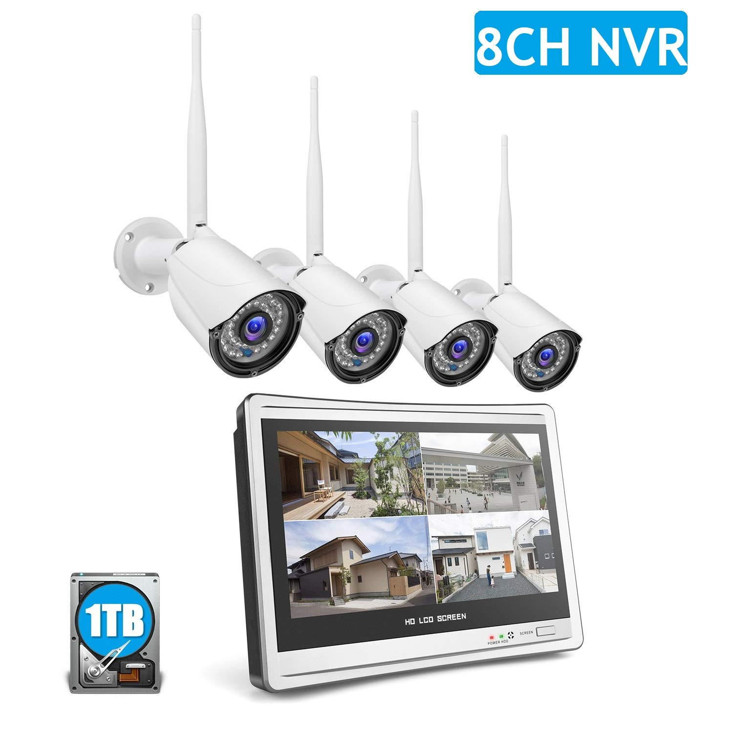 8ch Security Camera System, 12.5 inches LCD Display with 8 Channels Wireless Security System and 4Pcs 1080P indoor outdoor Wireless Weatherproof cameras, P2P, IR Night Vision, Plug and Play, 1TB HDD by Helenvision