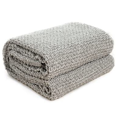 Bedsure Knitted Throw Blanket for Sofa and Couch, Lightweight, Soft & Cozy Knit Throws - Grey, 50 x60