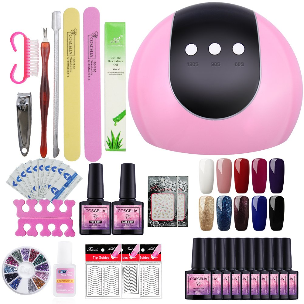 Saint-Acior Esmaltes de Uñas Esmaltes Semipermanentes Kit Uñas de Gel Set Manicura y Pedicura 24W UV/LED Lámpara 10pcs Esmaltes en Gel Soak off 8ml Nail Art
