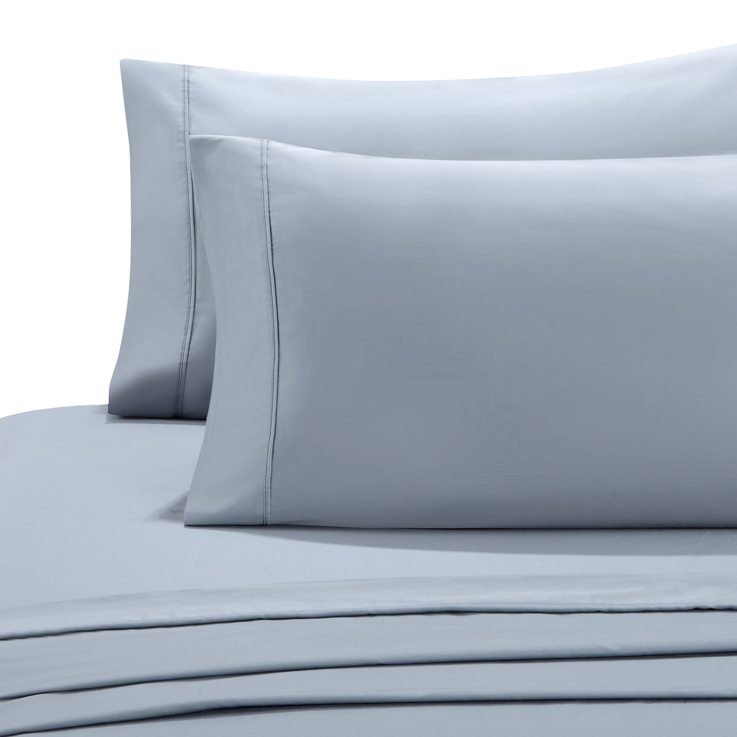 HollyHOME 100% Cotton Hotel Luxury Collection 4 Pieces 600 Thread Count Deep Pocket Bed Sheet Set, Queen Size, Light Blue