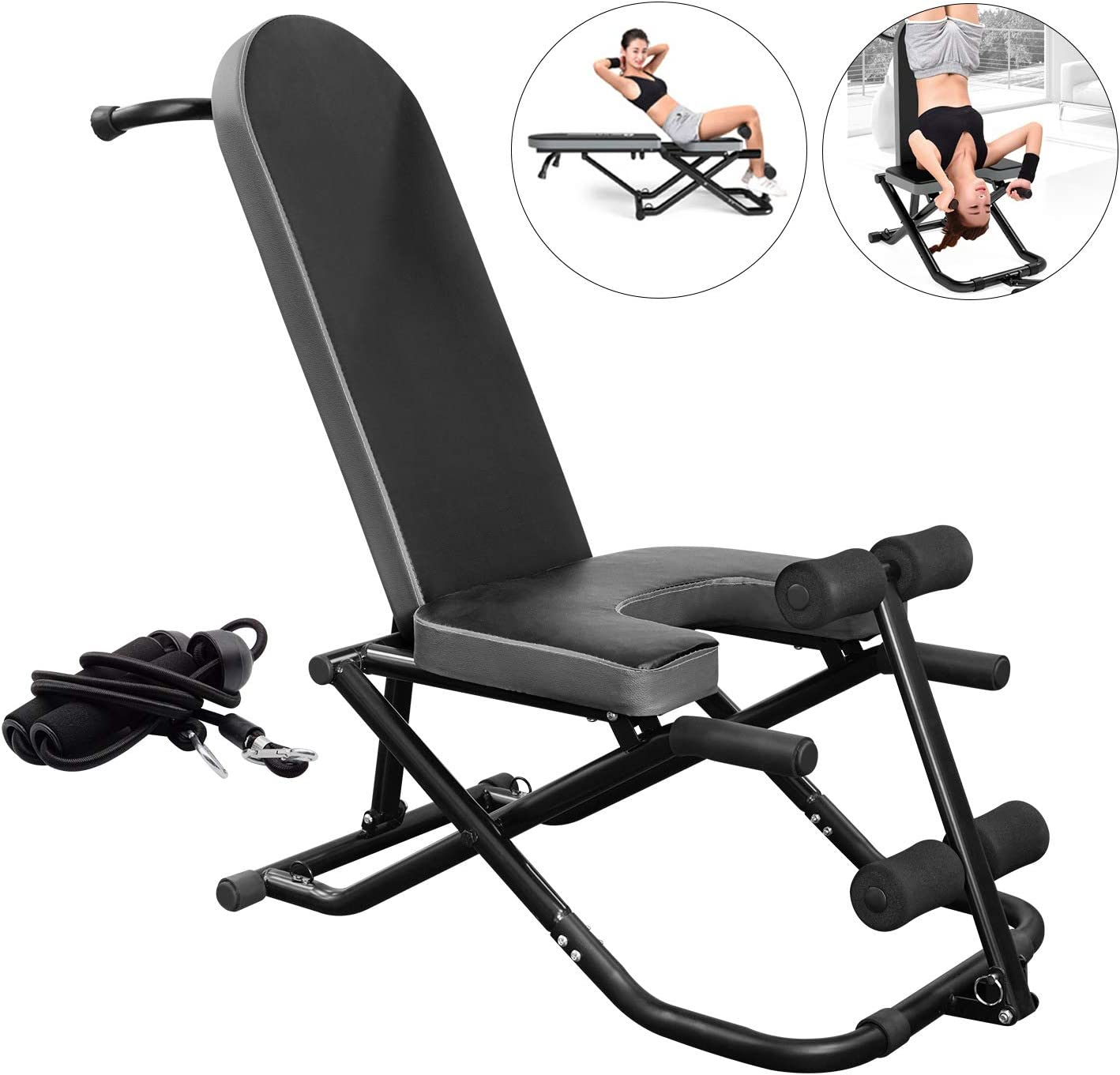 AticaSport Handstand Bench Inversion Chair Stool Sit-ups Fitness Push-ups Machine Home Gym Workout Foldable Equipment
