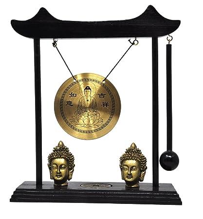 Mudra Crafts Miniature Zen Art Oriental Asian Office Home Desktop Mini Decor  Gong Chime (Buddha