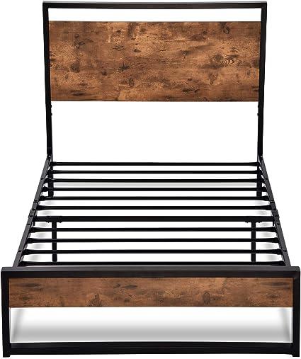 Allewie - Marco de cama con cabecero de madera y listones de metal/base de colchón estilo rústico / somier de caja opcional/fuerte soporte de listones ...