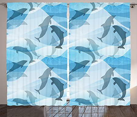 Sea Animals Decor Curtains Dolphin Pattern Silhouette Under The Sea Waves  Contemporary Design Living Room Bedroom