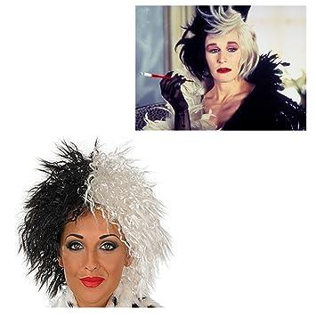 Cruella De Ville Wig 101 Dalmations Halloween Fancy Dress (peluca)