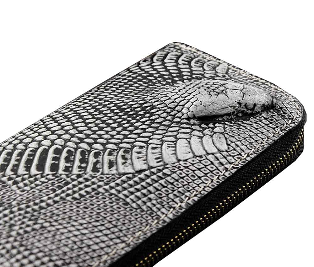 Snake Head Men Real Leather Zippered Around Clutch Handbag Wallet Retro