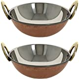 """Set of 2 Skywalk 1.9"""" X 5.1"""" Handmade High Quality Stainless Steel Copper Dish Serving Indian Food Daal Curry Karahi Kadai Wok Bowl Capacity 350 ML for use Vegetable Serving Indian Food in Restaurant Home Garden Hotel Ware Gift Item"""