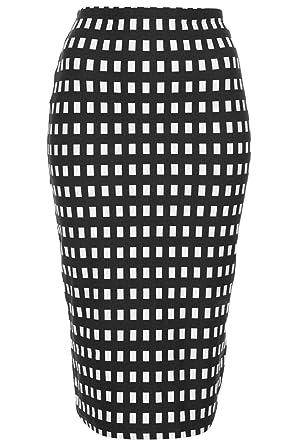 Negro Cuadros Tubo Falda Negro negro / blanco: Amazon.es: Ropa y ...