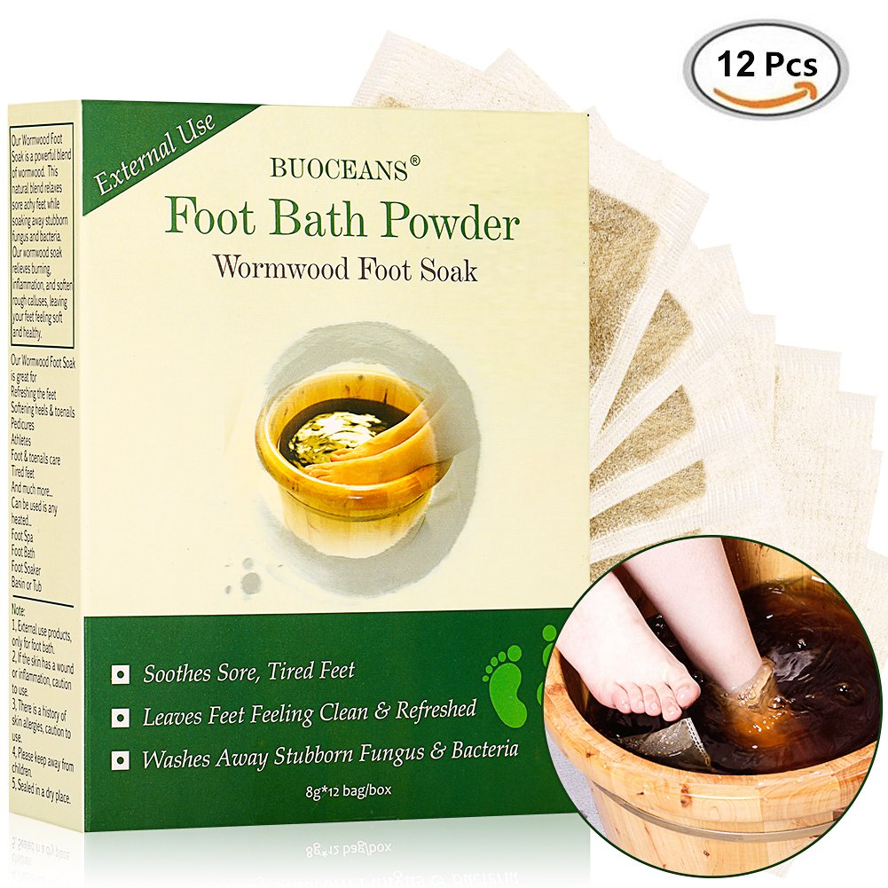 Foot Soak, With Wormwood and Epsom Salt, Antifungal Foot Soak, Helps Soak Toenail Fungus, Athletes Foot & Stubborn Foot Odor – Softens Calluses & Soothes Sore Tired Feet, 8g12bag PINPOXE Per-5059