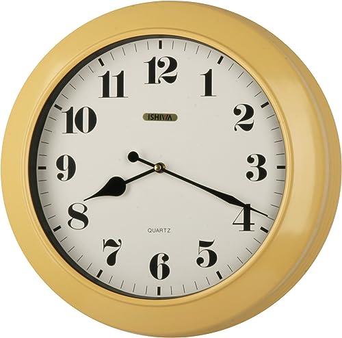 ISHIWA 17-inch Jumbo Simply Modern Style Quality Made Thickish Heavy Metal Wall Clock, Home Decor, Wall Hang Art WG0074 Yellow