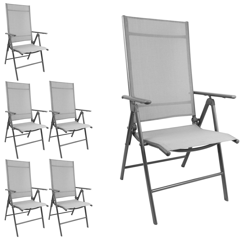 6 Stück Eleganter Gartenstuhl mit 2x1 Textilenbespannung, Lehne um 7 Positionen verstellbar, klappbar, Silbergrau/Grau, Hochlehner Positionsstuhl Klappstuhl