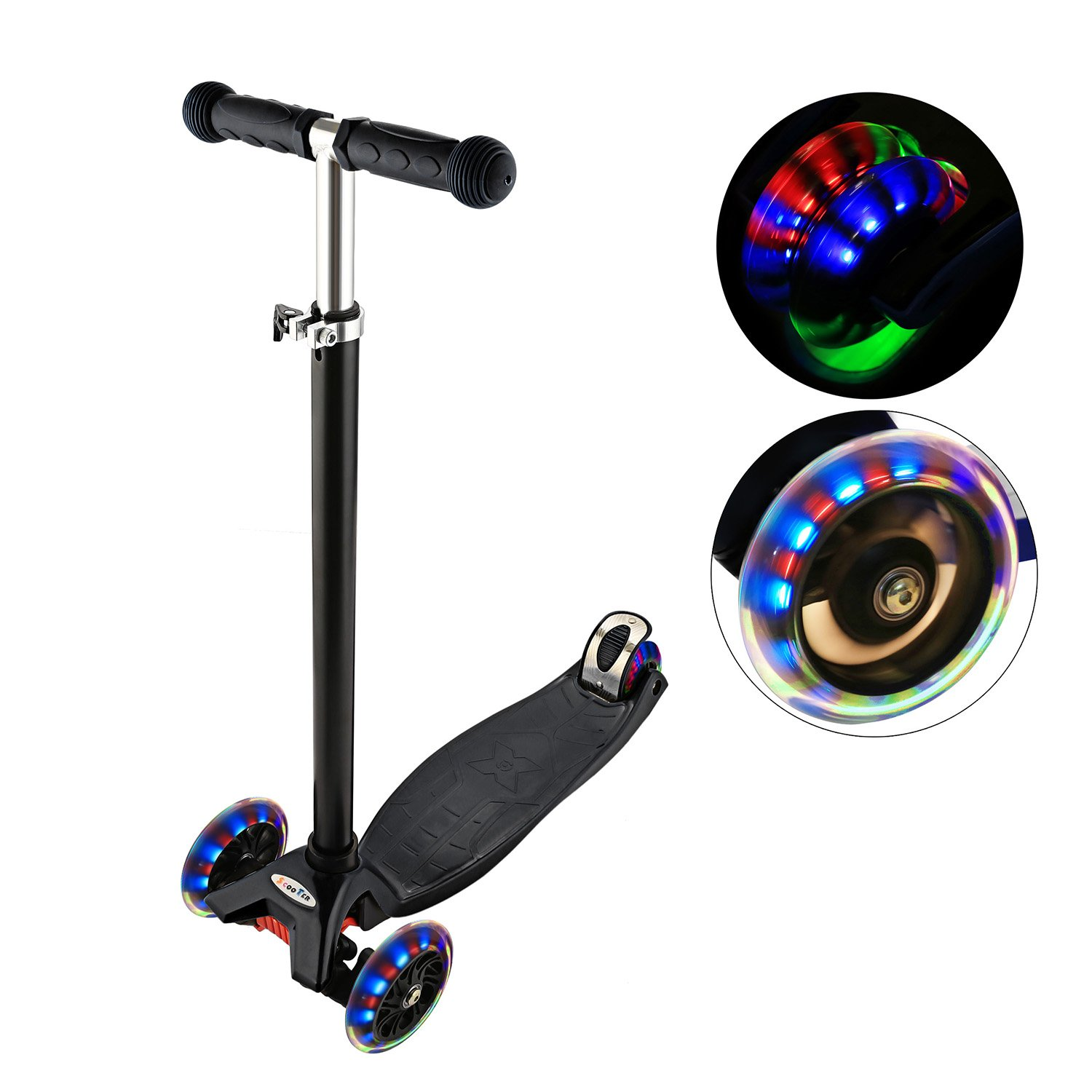 c7aed5948494 ANCHEER Kick Scooter for Kids 3 Wheels, Adjustable Height Kids Scooter LED  Light Flashing PU Wheels, Scooter for Boys and Girls 3-12 MG
