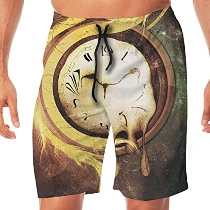 51a0f77379 Amazon.com : Men's Shorts Trunk Summer Pockets Melting Clock Swim ...