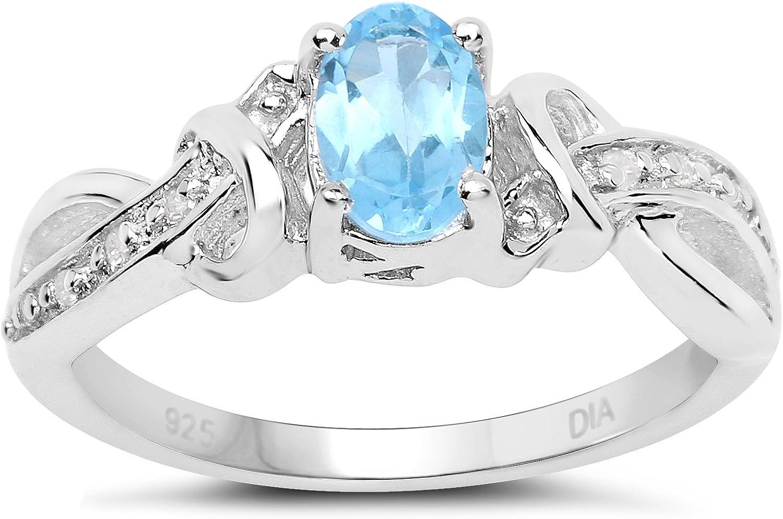 La Colección Anillos Topacio Azul: Anillo Compromiso de Plata con Topacio Azul ovalado y set de Diamantes en hombros cruzados, talla 6,8,9,10,11,12,13,15,16,17,19,20,21,22,24,25,26