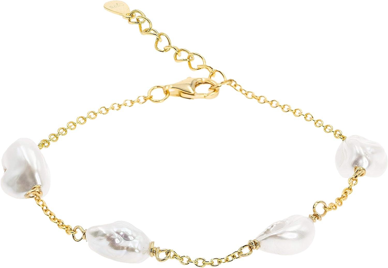 Secret & You Pulsera de Mujer de Perla Cultivada de Agua Dulce Blancas Barrocas Keshi Cadena de Plata de Ley de 925 milésimas Bañada en Oro de 18k 17 a 20 cm de Largo.