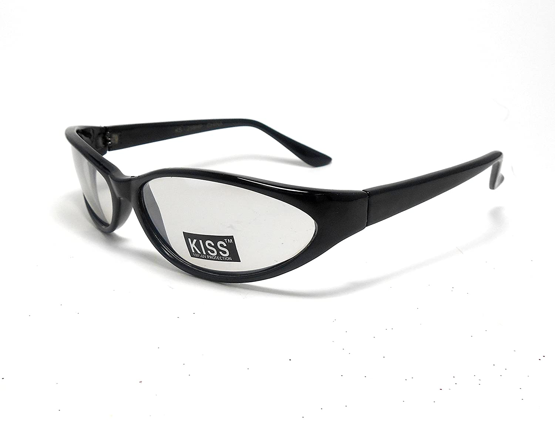 Womens Kiss Black Plastic Clear Lens Fashion Sunglasses Shades