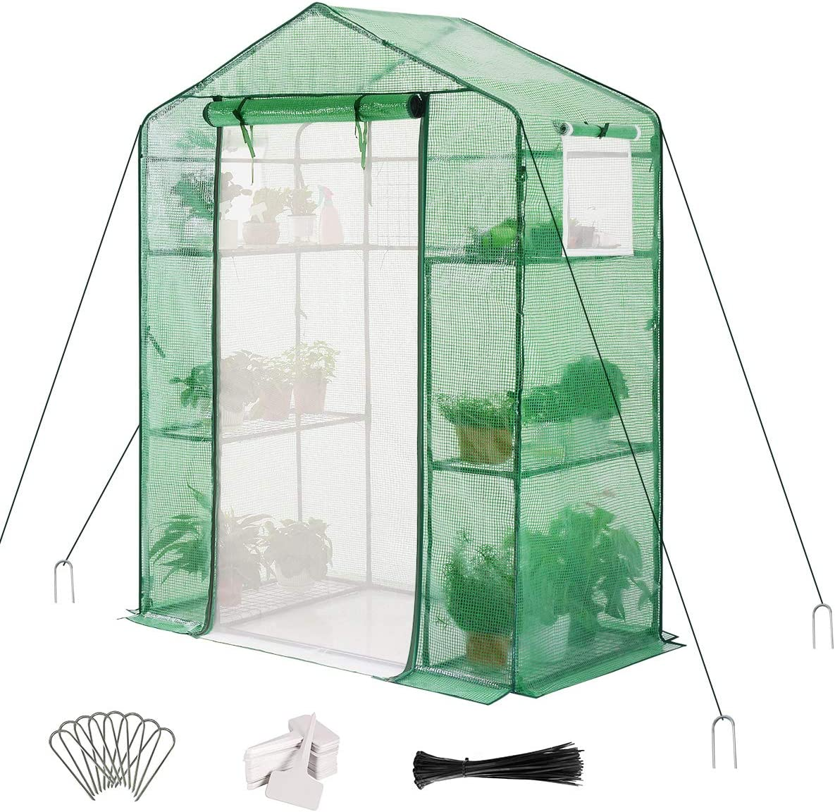 "Quictent Greenhouse Mesh Door 2 Windows 3 Tiers 6 Shelves 56"" W x 29"" D x 77"" H Walk in Outdoor Portable Plant Garden Green House 50 T-Type Plant Tags 8 Stakes 4 Ropes Include (Green)"