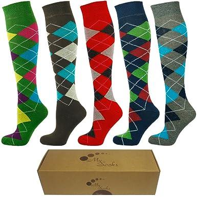 83db2558a Mysocks® Mens Knee High Golf Socks Gift Box  Amazon.co.uk  Clothing