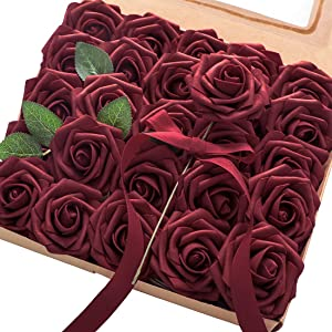Floroom Artificial Flowers 25pcs Real Looking Burgundy Fake Roses with Stems for DIY Wedding Bouquets Red Bridal Shower Centerpieces Party Decorations