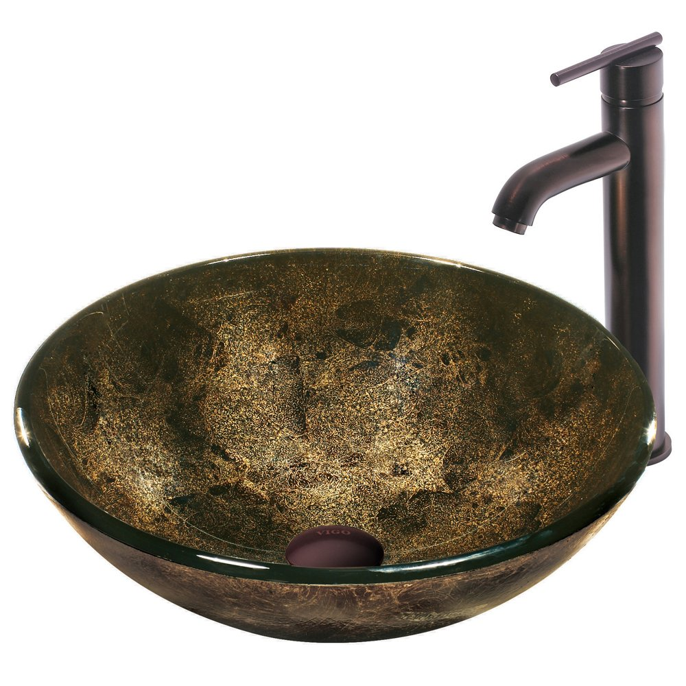 VIGO Sintra Glass Vessel Bathroom Sink and Seville Vessel Faucet with Pop Up, Oil Rubbed Bronze by Vigo