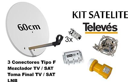 KIT ANTENA PARABOLICA 60cm TELEVES + MEZCLADOR DE SATELITE + TOMA FINAL SEPARADORA DE SEÑALES