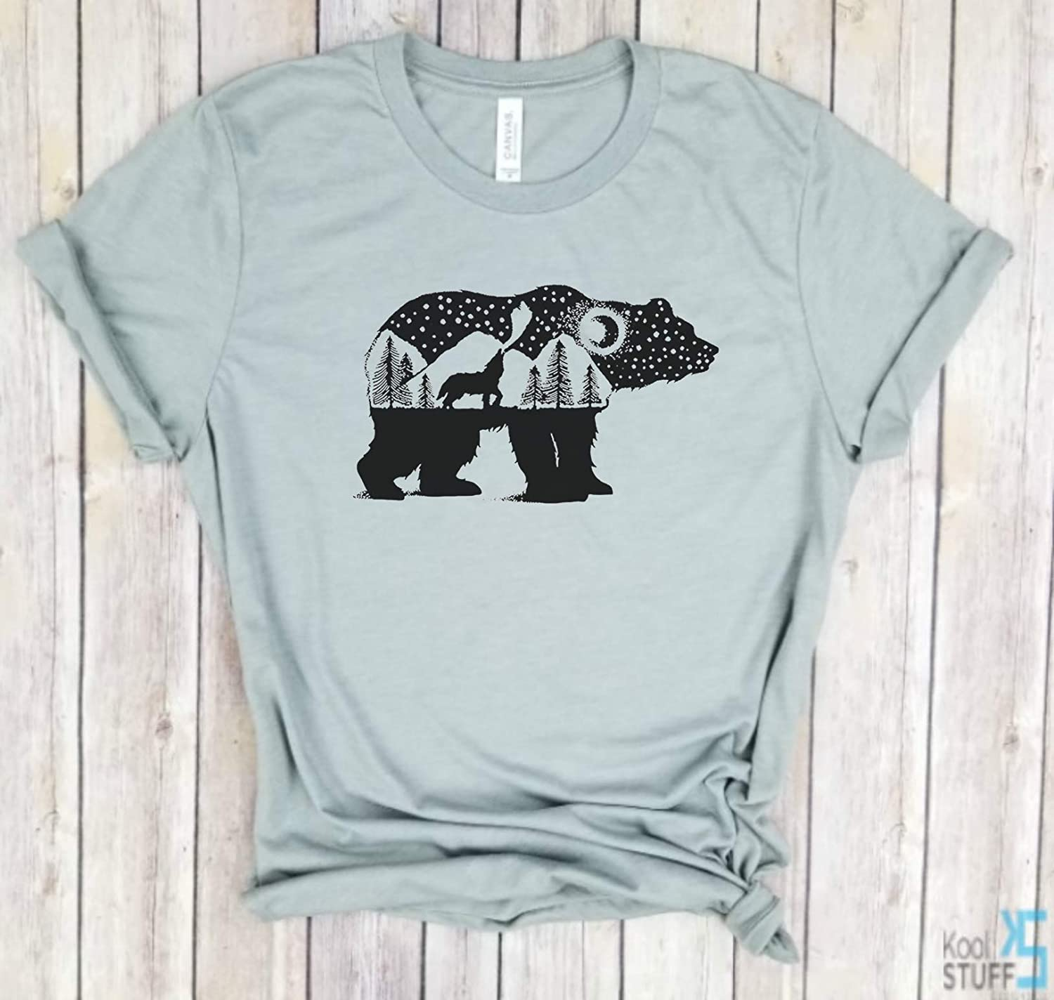 Bear and Wolf howling - Woods T-Shirt, Wild bear, Adventure Camping Journey Trees, National Park, Nature, Outdoors, Wilderness Tee.