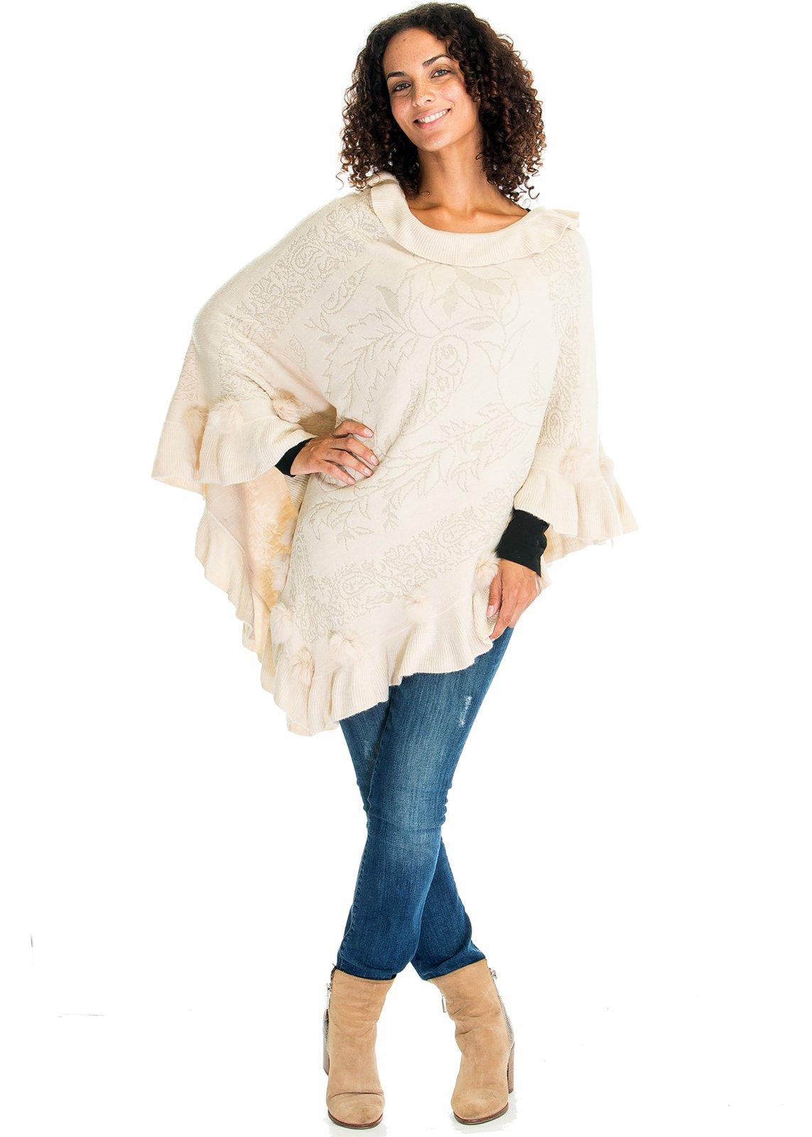 Women's Pullover Ruffle Edge Poncho Sweater Elegant Cloak With Pom Pom Deco (One Size, Cream)