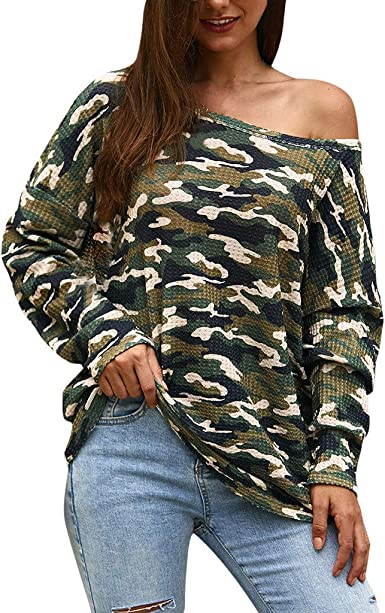 Camiseta Mujer Camuflaje Blusa Casual de Manga Larga con ...