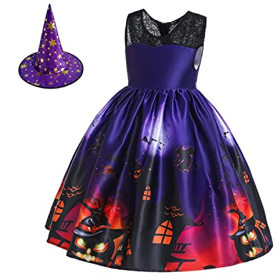 HIHCBF Girls Halloween Witch Costume Fancy Dress Up w/Witch Hat Kids Ghost Pumpkin Skull Printed Cosplay Party Outfits: Clothing