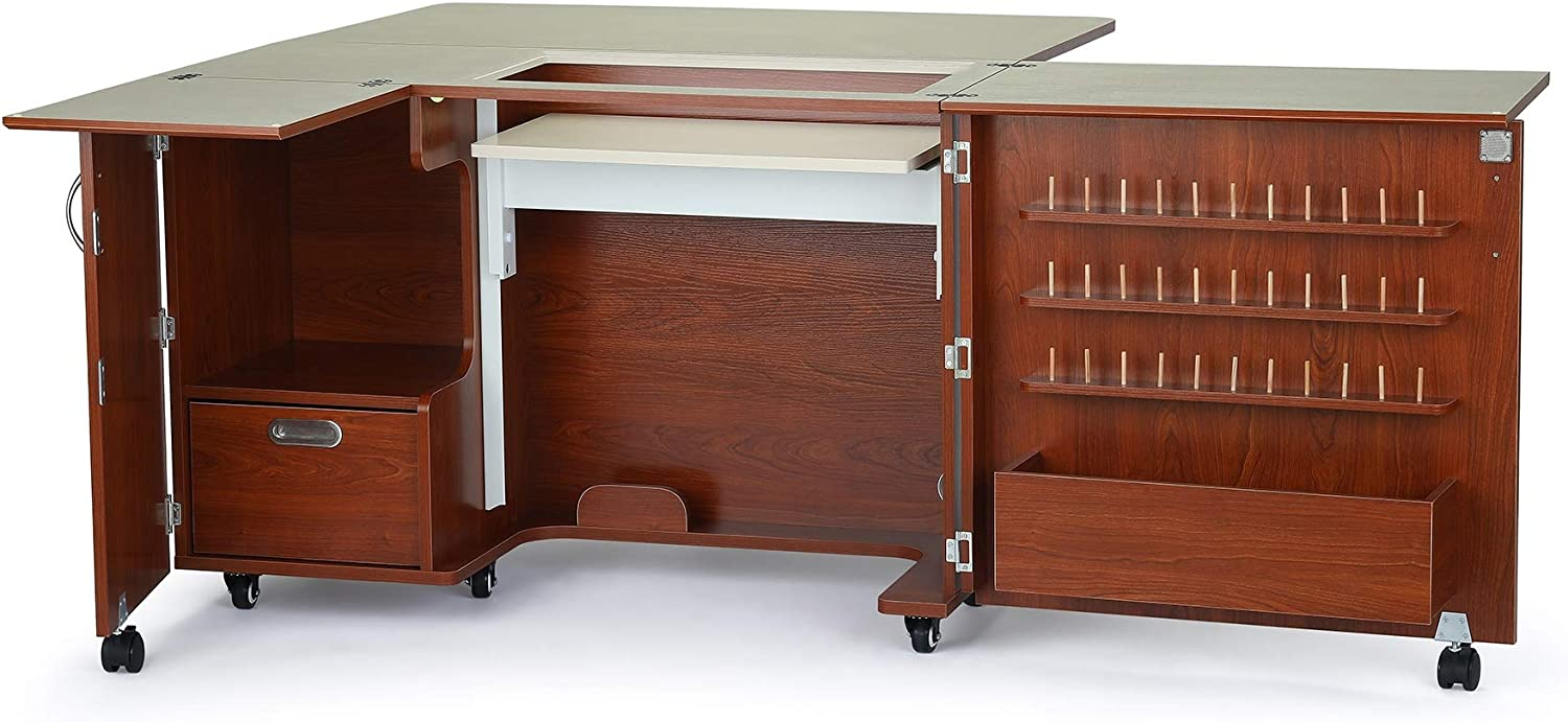 Arrow K8405 Wallaby II Kangaroo Sewing, Cutting, Quilting, Crafting Cabinet and Table, Includes Storage and Airlift, Portable with Wheels, Teak Finish