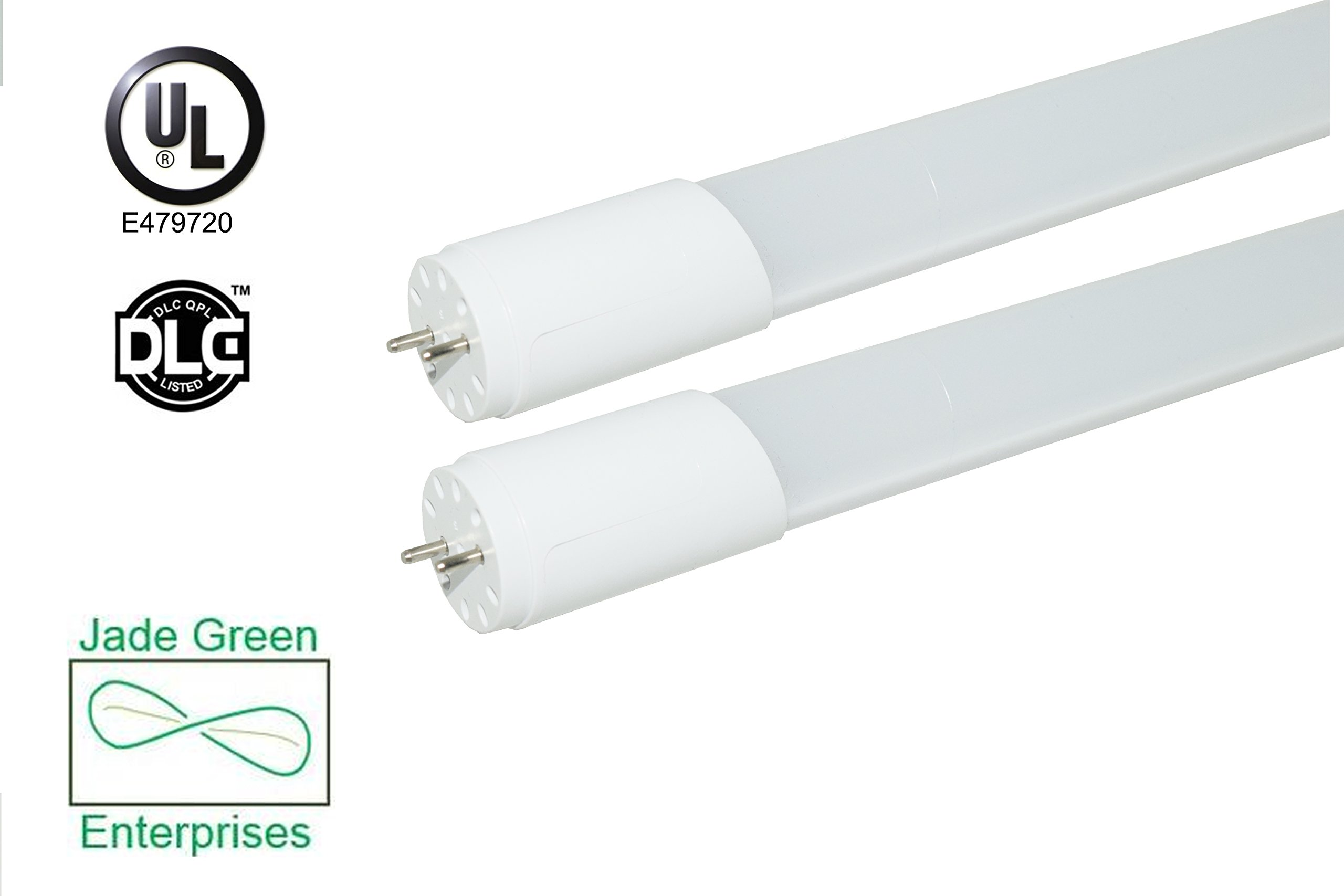 2 Foot T8 LED Tube Light 9 W 2 Pack, 3000K (Warm), 1080 Lumens (120 Lm/W), Single End Power, UL Listed, DLC Listed