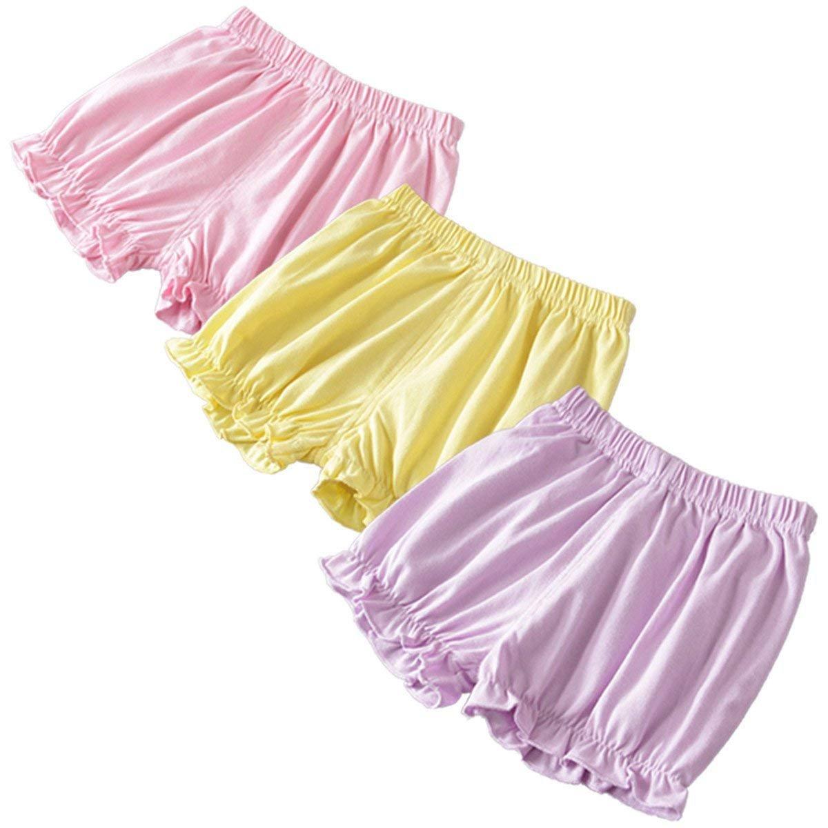 Maylife 3 Pack Little Baby Girls Cotton Linen Blend Summer Soild Ruffle Bloomer Shorts