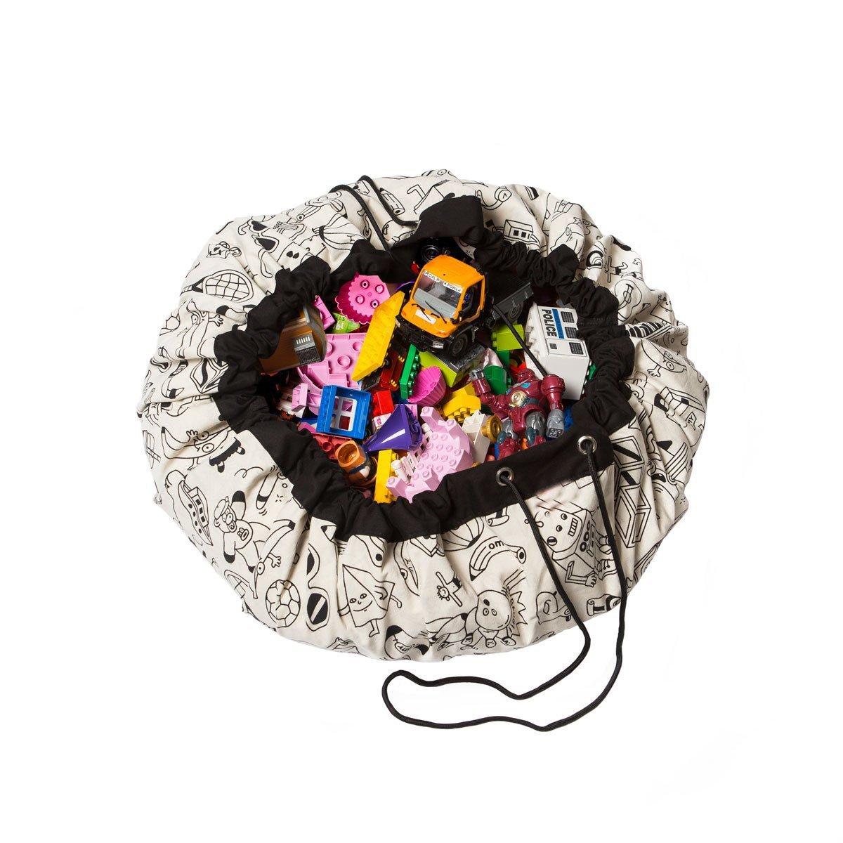 Tappeto rotondo cameretta dei bambini, giocattoli organizer per borsa, grande in cotone Cartoon antiscivolo tappetino da gioco per bambini, con coulisse per la camera dei bambini zhanlan