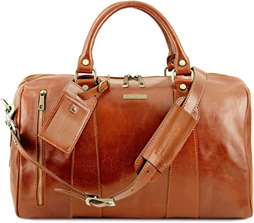 Tuscany Leather TL Voyager Travel leather duffle bag – Small size Honey