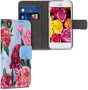 kwmobile Wallet Case Compatible with Apple iPhone SE (1.Gen 2016) / 5 / 5S - PU Leather Flip Cover with Card Slots and Stand - Flower Mix Violet/Light Pink/Light Blue