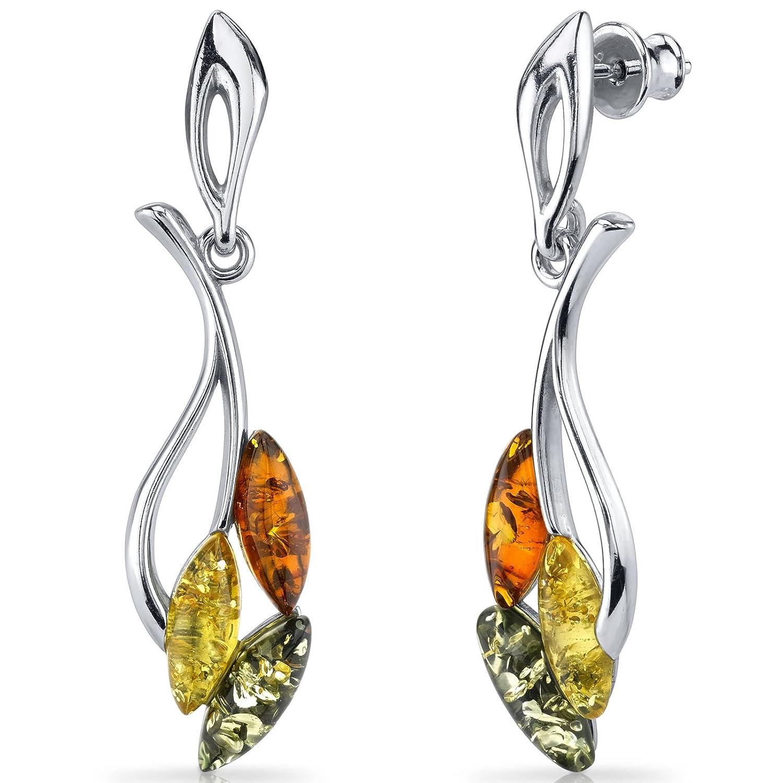 Baltic Amber Leaf Dangle Earrings Sterling Silver Multiple Color