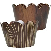 Wood-Grain Cupcake Wrappers - 36 | Wild One, Woodland Animal Baby Shower Decorations, Camp-Fire Party Supplies, Lumberjack Theme Birthday Decor, Rustic Woodsy Wedding, Forest Friend Creatures Liners